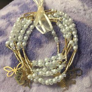 Jewelry - Artesanal Pearl Bracelets(7)w/18kt Plated Charms